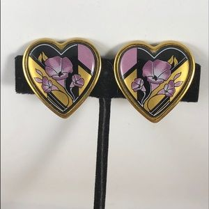 Vintage Michaela Frey Heart Clip on Earrings